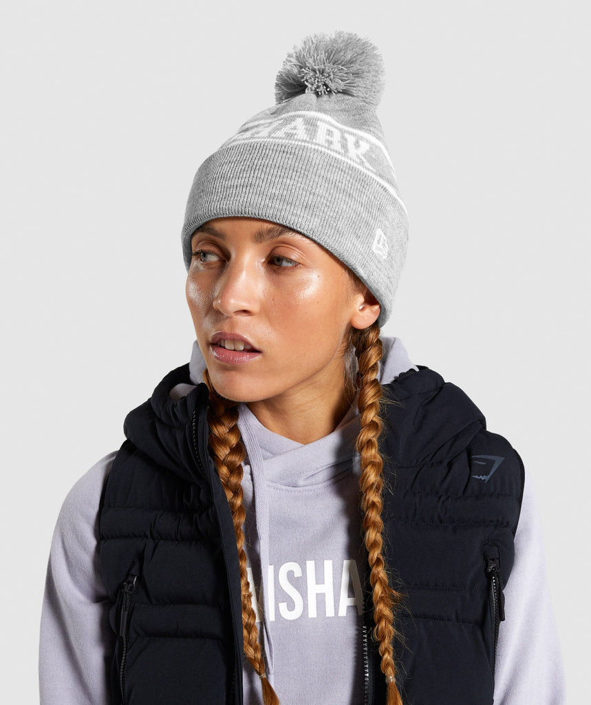 Gymshark New Era GS Tab Beanie - Grey Marl 1