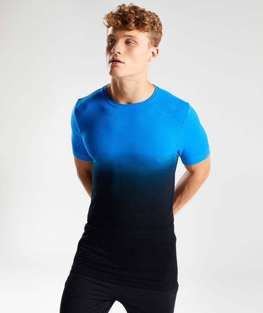 Gymshark Ombre T-Shirt - Dive Blue/Black 4