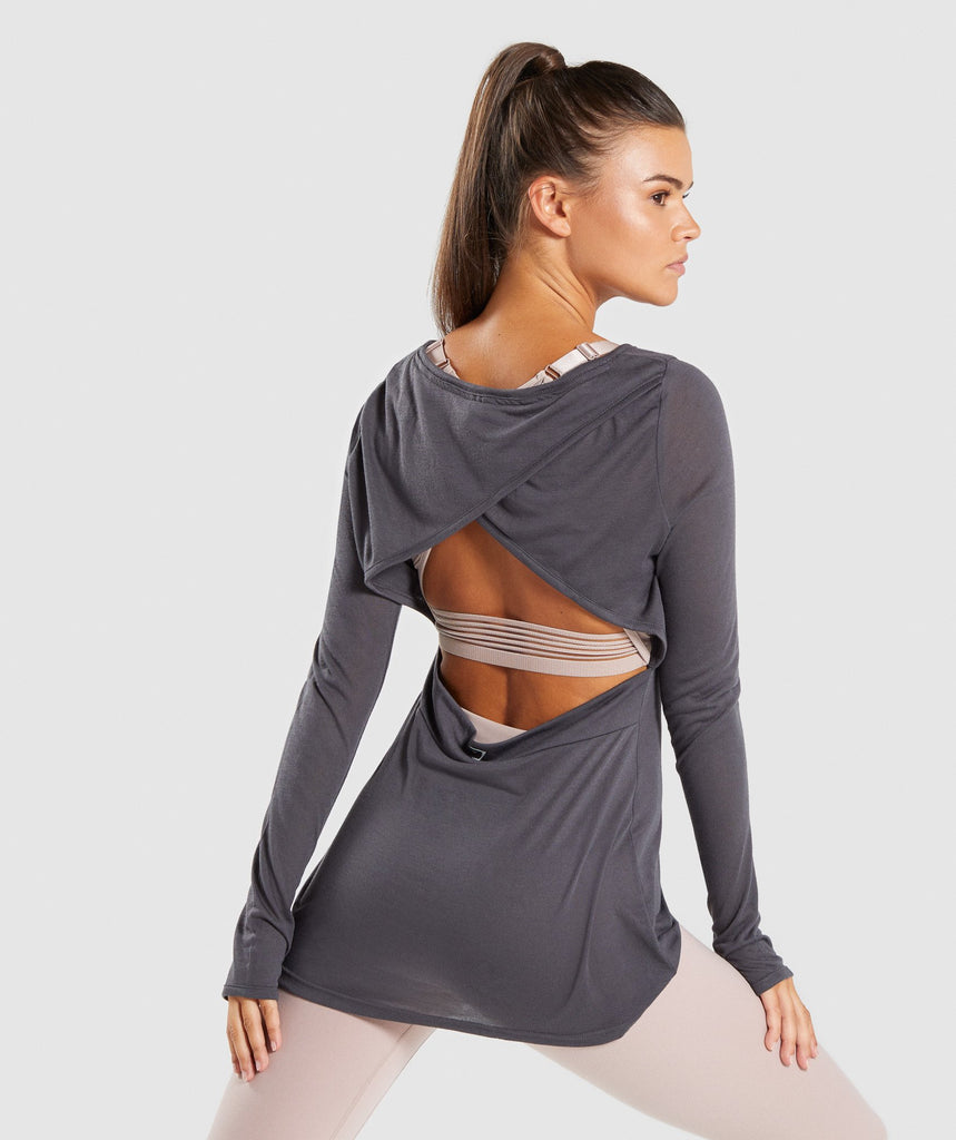 Gymshark Open Cross Back Long Sleeve - Charcoal Marl 2