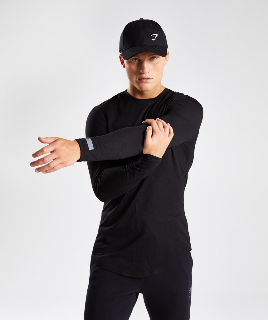 Perforated Longline Long Sleeve T-Shirt - Black 1