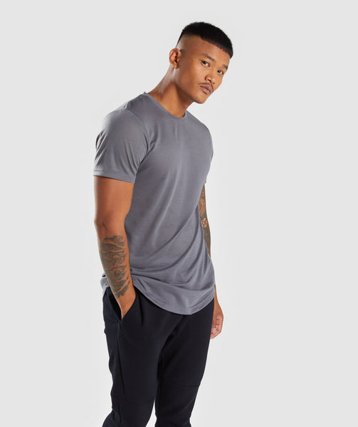 Gymshark Perforated Longline T-Shirt - Smokey Grey 4