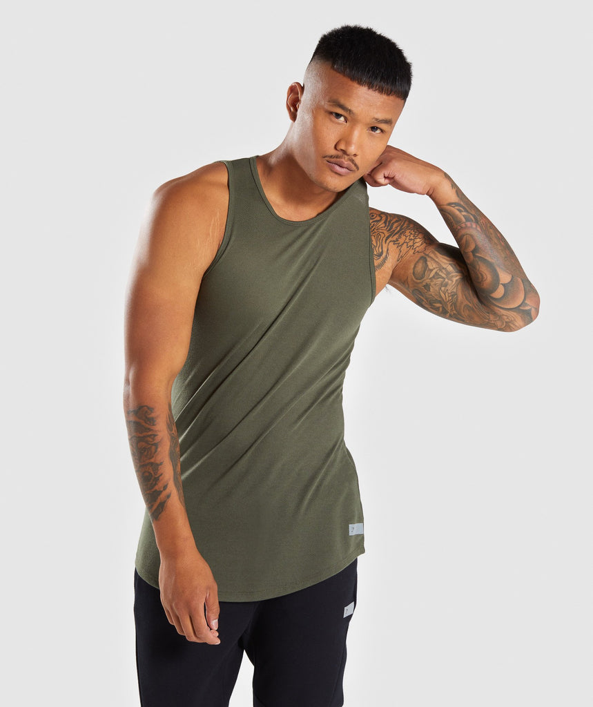 Gymshark Perforated Longline Tank - Woodland Green 1