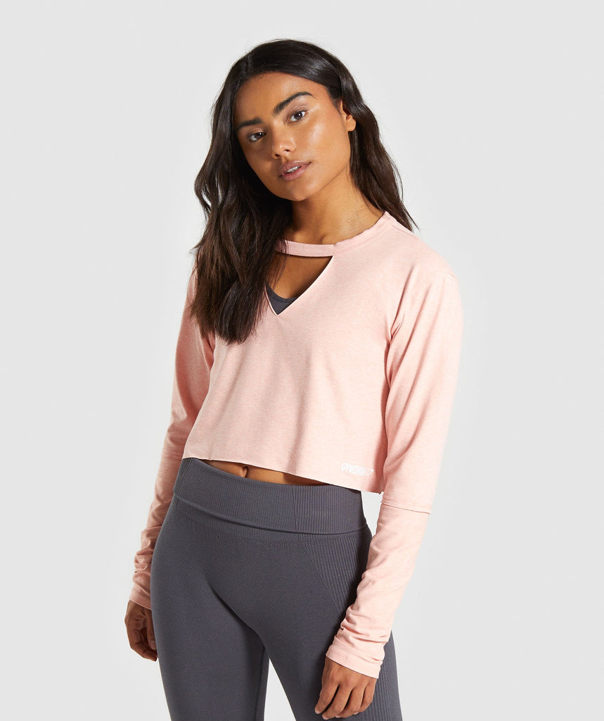 Gymshark Power Down Crop Top - Peach 1