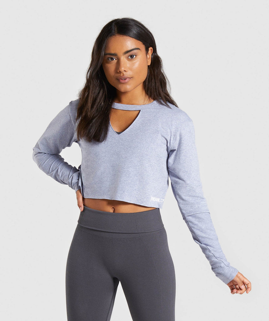 Gymshark Power Down Crop Top - Steel Blue 1