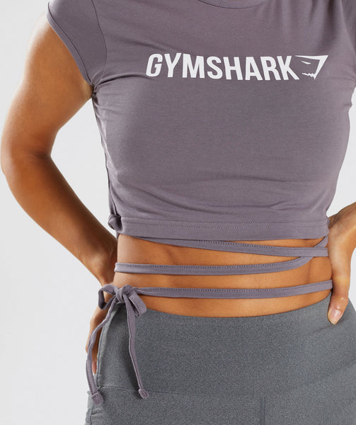 Gymshark Ribbon Capped Sleeve Crop Top - Slate Lavender 4