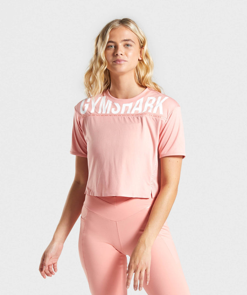 Gymshark Recess Crop Top - Peach 1