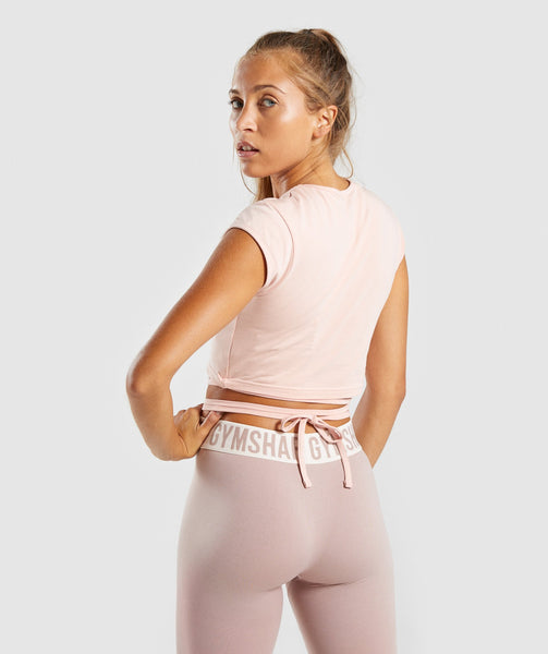 Gymshark Ribbon Capped Sleeve Crop Top - Blush Nude 1
