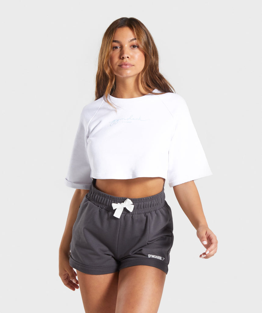 Gymshark Signature Boxy Cropped Sweater - White 1