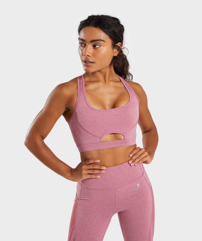 Gymshark Sleek Sculpture Sports Bra - Dusky Pink Marl 4