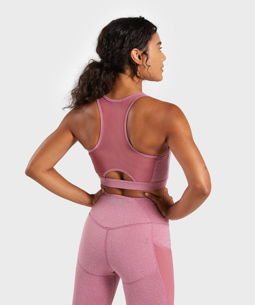 Gymshark Sleek Sculpture Sports Bra - Dusky Pink Marl 1