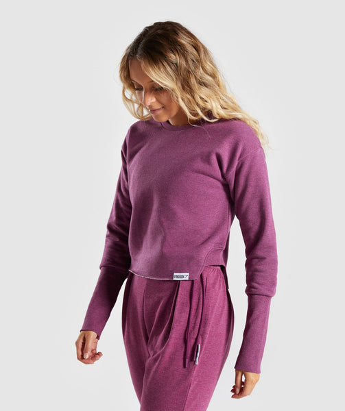 Gymshark Slounge Crescent Sweater - Dark Ruby Marl 2