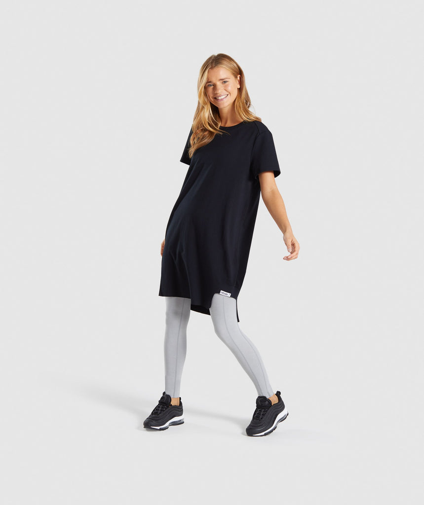 Gymshark Slounge Crescent T-Shirt Dress -Black 6