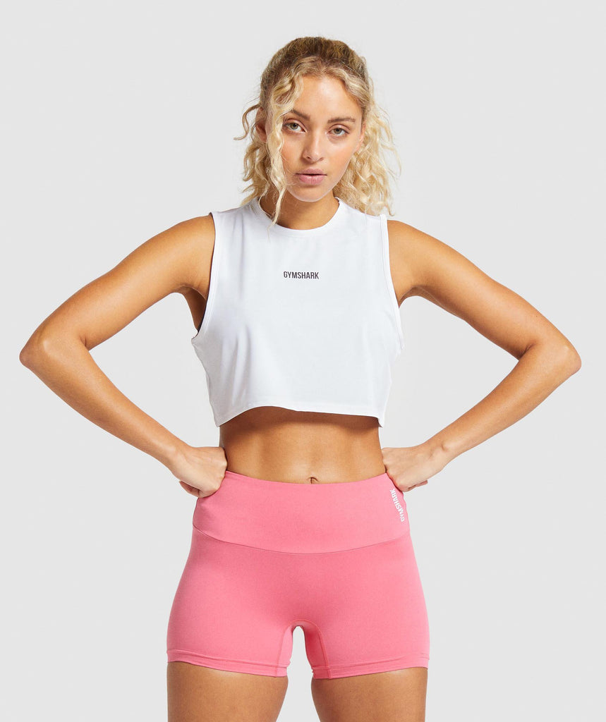 Gymshark Training Cropped Tank - White 1