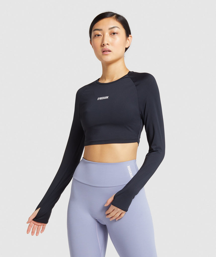 Gymshark Training Long Sleeve Crop Top - Black 1