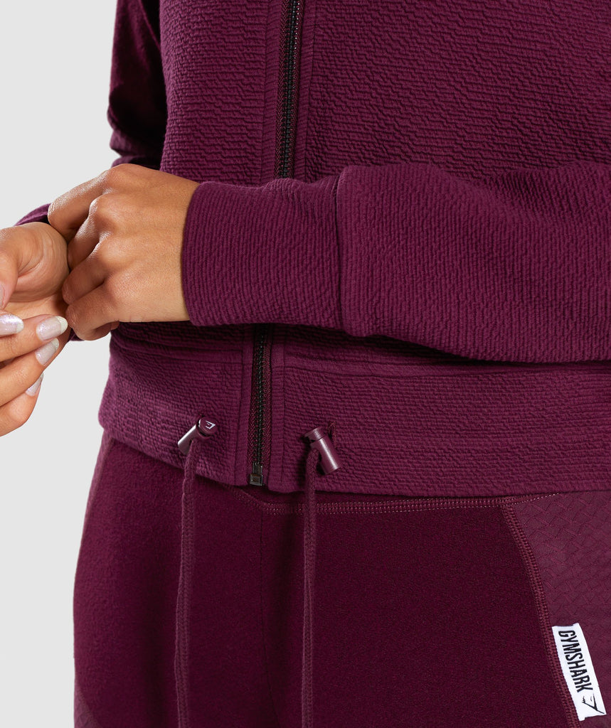 Gymshark True Texture Hooded Bomber Jacket - Dark Ruby 5