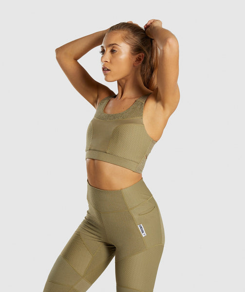 Gymshark True Texture Sports Bra - Washed Khaki 2