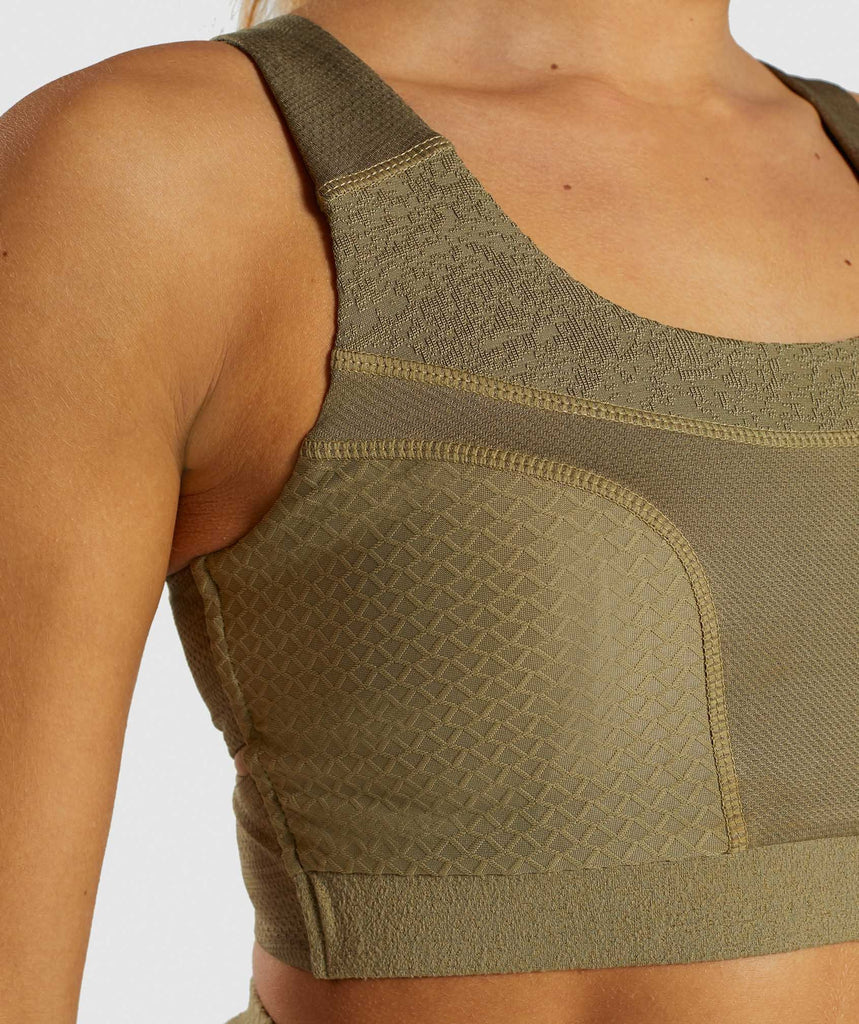 Gymshark True Texture Sports Bra - Washed Khaki 6