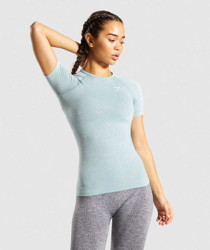 Gymshark Vital Seamless T-Shirt - Light Green Marl 1