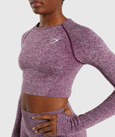 Gymshark Vital Seamless Long Sleeve Crop Top - Purple 11