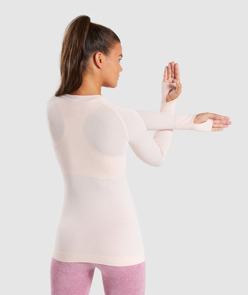 Full Length  Blush Nude Marl Vital Seamless Long Sleeve T-Shirt Stretch From Behind 1
