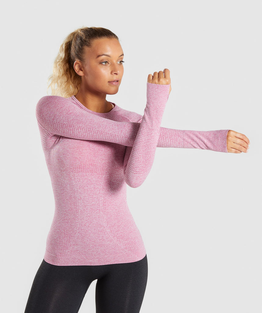 Full Length Dusty Pink Marl Vital Seamless Long Sleeve T-Shirt Front Stretch 4