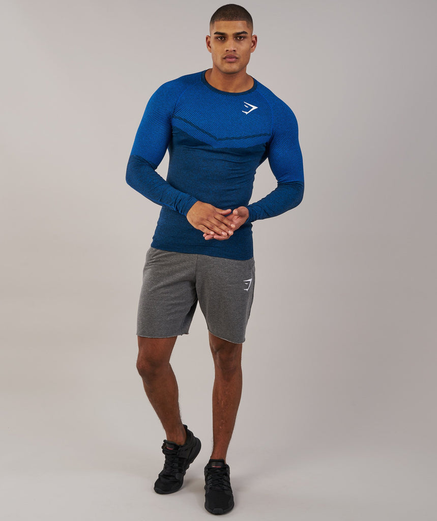 Gymshark Performance Seamless Long Sleeve T-Shirt - Dive Blue Marl 1