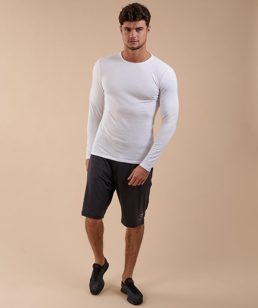 Brushed Cotton Long Sleeve T-Shirt - White 1