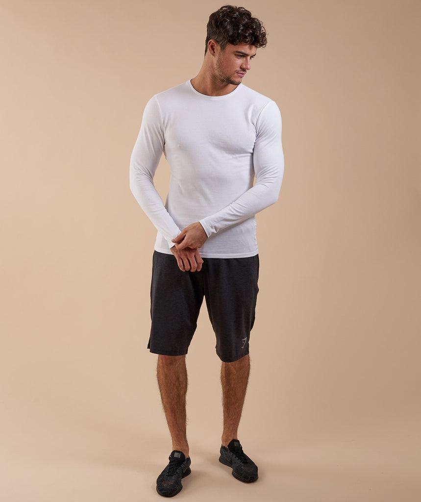 Brushed Cotton Long Sleeve T-Shirt - White 2