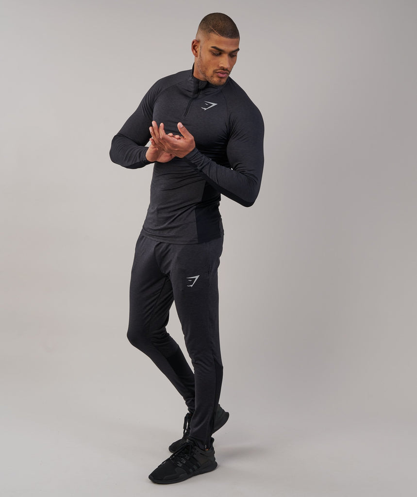 Gymshark Fallout 1/4 Zip Pullover - Black Marl 1