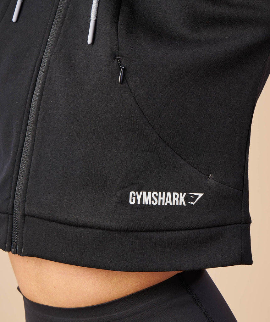 Gymshark Two Tone Cropped Hoodie - Black/Light Grey Marl 6