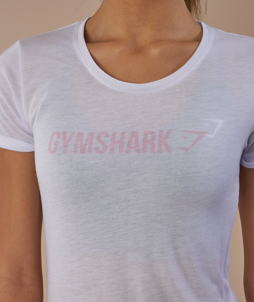 Gymshark Ombre T-Shirt - White/Chalk Pink 6
