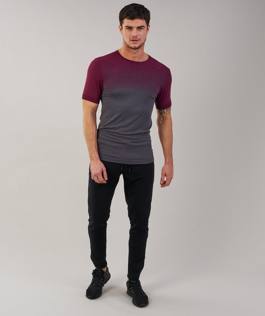 Gymshark Ombre T-Shirt - Port/Charcoal 1