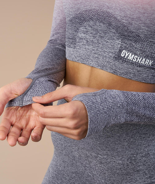Gymshark Ombre Seamless Crop Top - Peach Pink/Charcoal 4