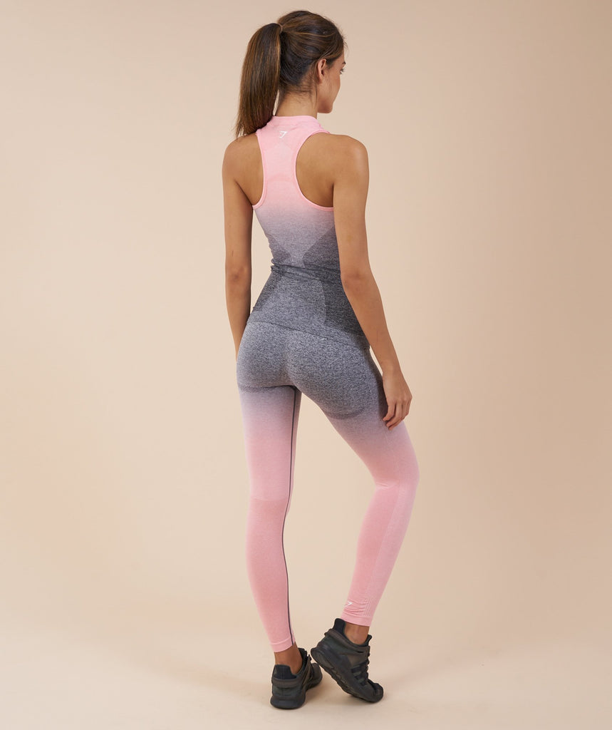 Gymshark Ombre Seamless Vest - Peach Pink/Charcoal 2