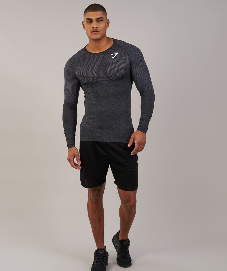 Gymshark Performance Seamless Long Sleeve T-Shirt - Black Marl 1