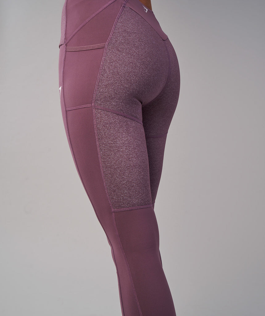 Gymshark Textured Leggings - Purple Wash 6