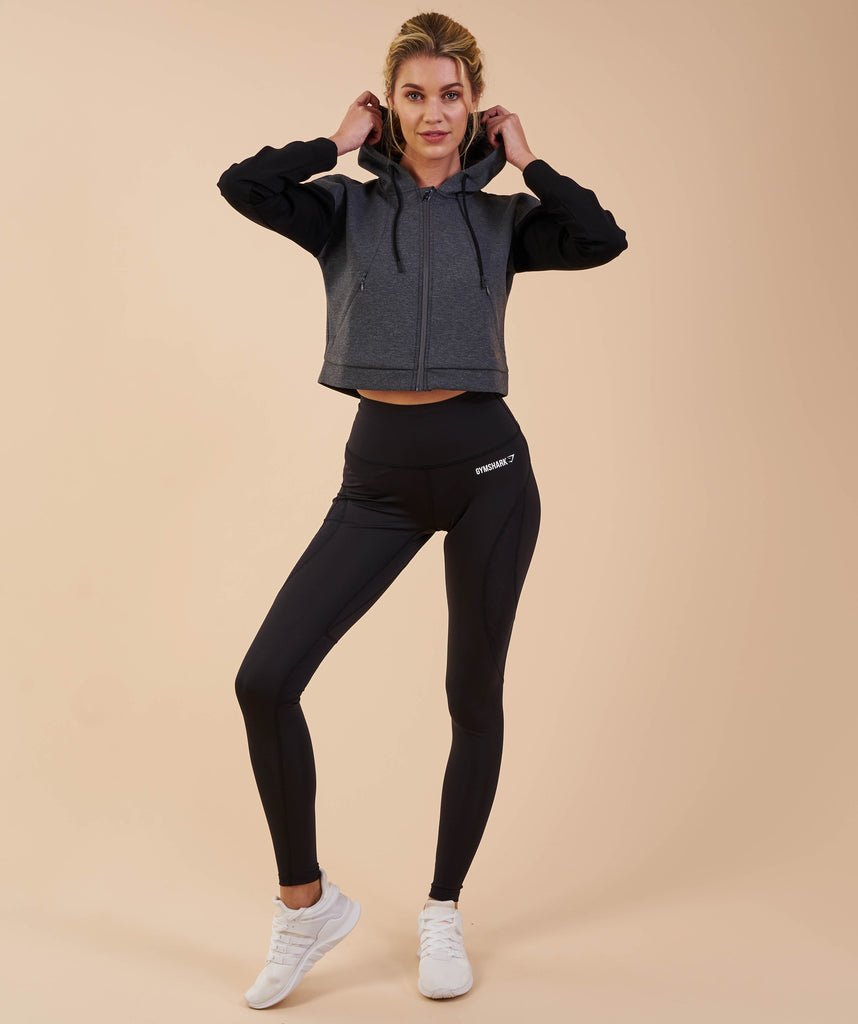 Gymshark Two Tone Cropped Hoodie - Charcoal Marl/Black 1