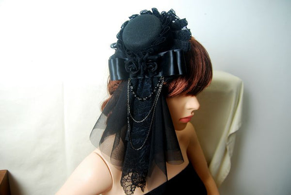 Steampunk Mini Top Hat with Veil & Chains