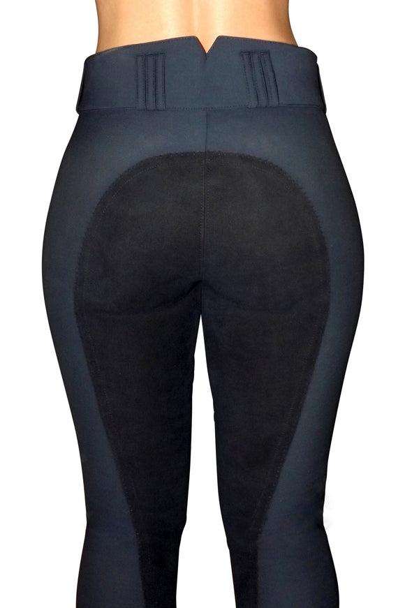 High Waisted Suede Seat Breeches - Navy