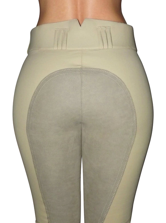 High Waisted Suede Seat Breeches- Beige