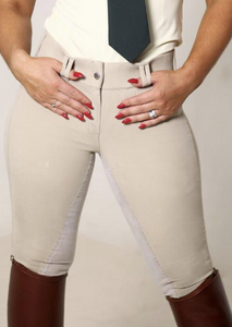 High Waisted Suede Seat Breeches - Beige