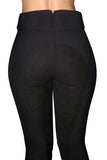 High Waisted Suede Seat Breeches - Black