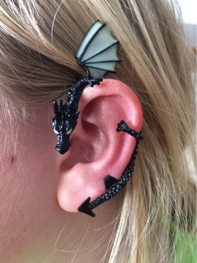 cccce2ce489fed Fanduco Earrings The Whispering Dragon Glow In The Dark Handcrafted Ear Cuff