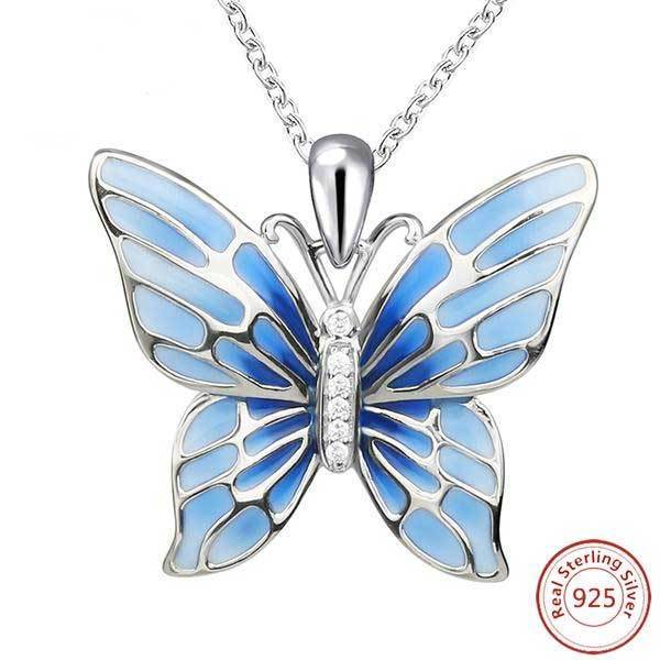 7db76b592db Fanduco Necklaces Blue Handmade Sterling Silver Butterfly Pendant