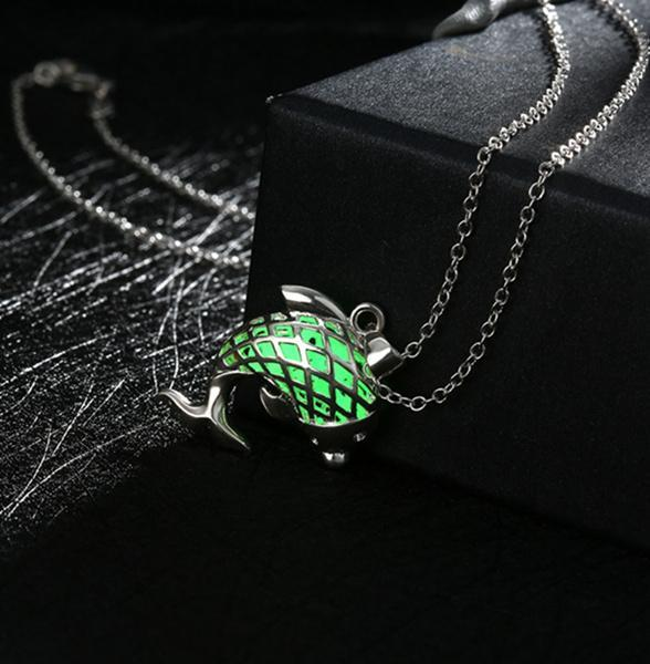 ae2a5b29cdaa9a Fanduco Necklaces Green Sterling Silver Glow In The Dark Dolphin