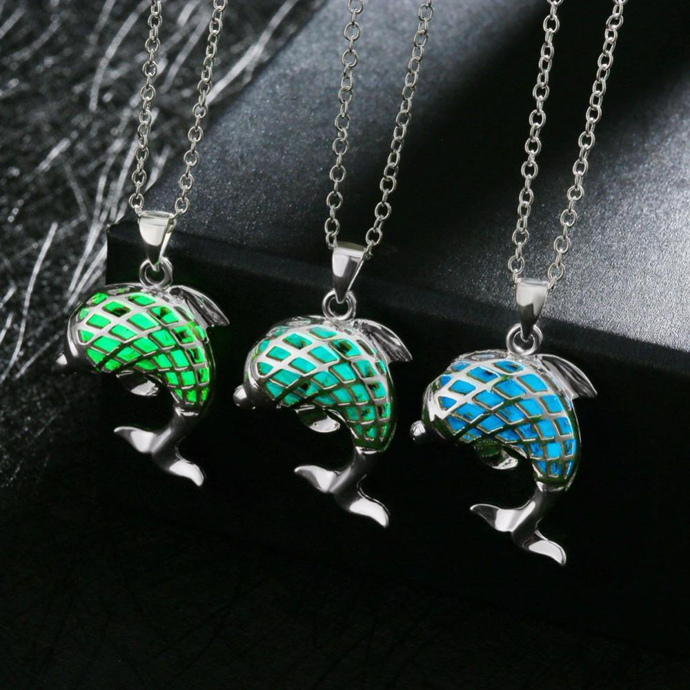 8568b572b17650 Fanduco Necklaces Sterling Silver Glow In The Dark Dolphin