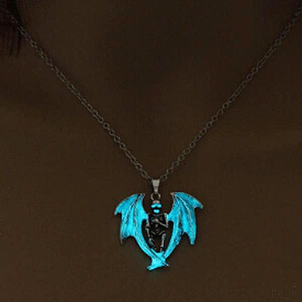 fc5980a23ee77b Fanduco Necklaces Turquoise Winged Skeleton Glow In The Dark Necklace
