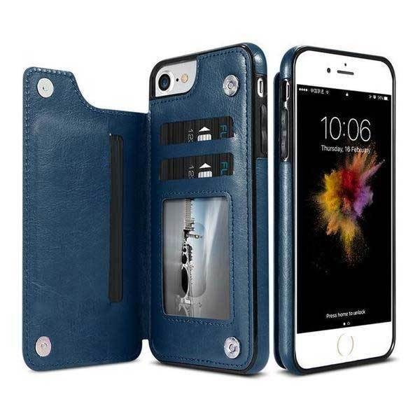 newest c4970 be4fb Luxury Leather iPhone Cardholder Wallet Case