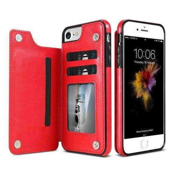 newest 15e4f 63ce5 Luxury Leather iPhone Cardholder Wallet Case