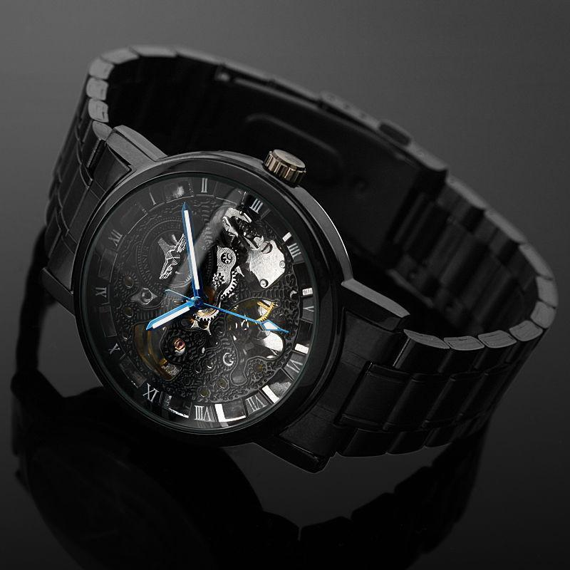 5c55f9e5b Fanduco Watches Black Stainless Steel Mechanical Skeleton Watch